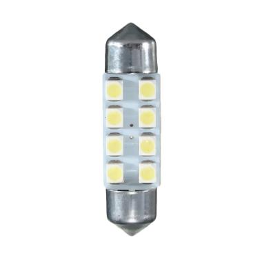 JMS 8 SMD 1210-3528 Bohlam Lampu LED Mobil Kabin Plafon Festoon - White [1 Pair/2 Pcs/36mm]