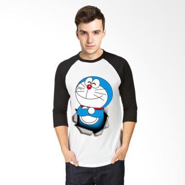 T-Shirt Glory Kaos 3D Doraemon Ajaib Raglan Pria - Putih Hitam