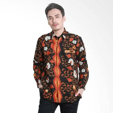 Aamir Kinsler BTU21 Tulis Lengan Panjang Kemeja Batik Pria - Hitam