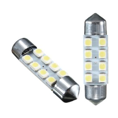 JMS Festoon 8 SMD 1210-3528 31mm Lampu LED Mobil For Kabin Or Plafon - White [1 Pair/2 Pcs]