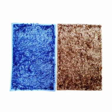Ellenov Microfiber Metalic Anti Slip Keset Cendol - Biru Muda dan Gold