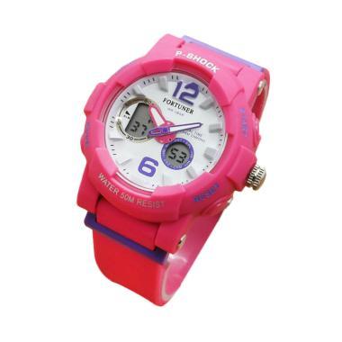 Fortuner Dualtime J908AD Rubber Strap Jam Tangan Wanita - Merah Muda