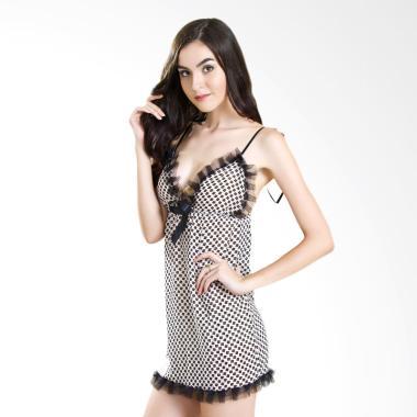 Lingerie X Lingerie L-883 Simple Lingerie Dress - Black White