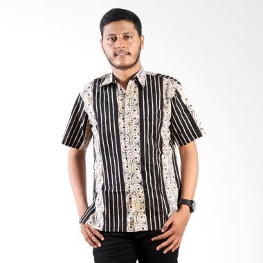 Batik Nulaba Cap Kemeja Pria Lengan Pendek Kawung Lurik Monochrome