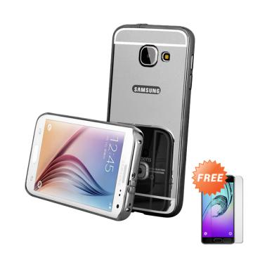 Case88 Bumper Mirror Casing for Samsung Galaxy A3 A310 2016 - Black + Free Tempered Glass
