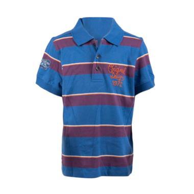 Branded Outlet Catimini Stripes Polo Shirt Anak - Biru Ungu