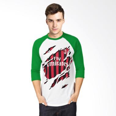 T-Shirt Glory Kaos 3D Ac Milan Jersey Raglan Pria - Putih Hijau