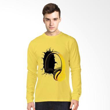 T-Shirt Glory 3D Airphone Drag Lengan Panjang Kaos Pria - Kuning