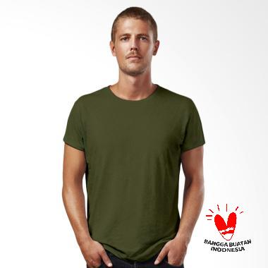 Morning Whistle Man Basic Crew Neck T-Shirt Kaos Pria - Army Green Jay