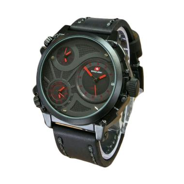 Swiss Army SA 6030 Infantry Leather Strap Jam Tangan Pria - Black Red