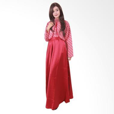 Batik Putri Ayu Solo Hijab Clarissa G077 Batik Gamis - Merah