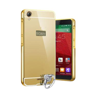 Case Bumper Chrome With Backcase Mirror Casing for Sony Xperia M4 Aqua Gold