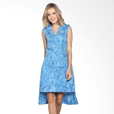Batik Pria Tampan Wdrtl-04081632c Women Waved Marble Dress - Blue