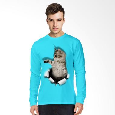 T-SHIRT GLORY 3D Cat Aktif Kaos Lengan Panjang Pria - Turkis Muda