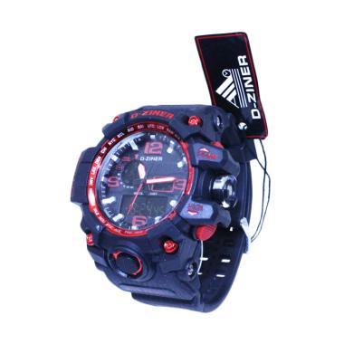 D-ziner DZ8009 Jam Tangan Pria Dual Time - Bonus Baterai - Hitam Merah