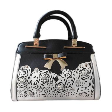 Guess Collection Branded Unik Import Satchel Bag - Black White