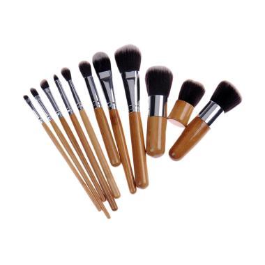 JBS 11 Piece Makeup Bamboo Handle Premium Synthetic Brush Set With Bag