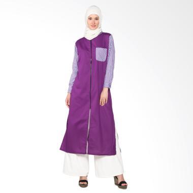 Chick Shop Long Tunic With Front Zi ... 02-U Baju Moslem - Purple