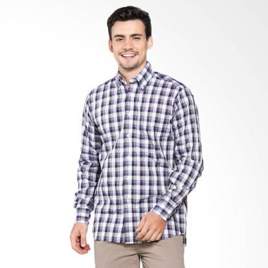 Postal Man Pattern Shirt Kemeja Tangan Panjang Pria - Purple Stripes