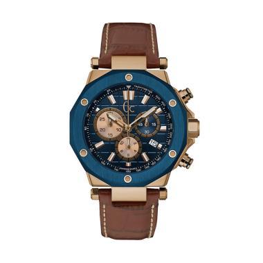 GUESS COLLECTION Leather Jam Tangan Pria Gc X72033G7S - Biru Coklat
