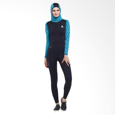 Tiento Wetsuit Hoodie Baju Renang Wanita Muslimah - Black Turquoise