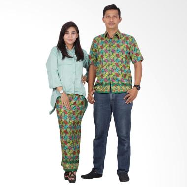 Batik Putri Ayu Solo Dress SRD203 Baju Batik Couple - Hijau
