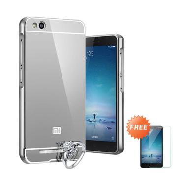 Jagostu Bumper Mirror Casing for Xiaomi Redmi Note 2 - Silver + Free Tempered Glass Screen