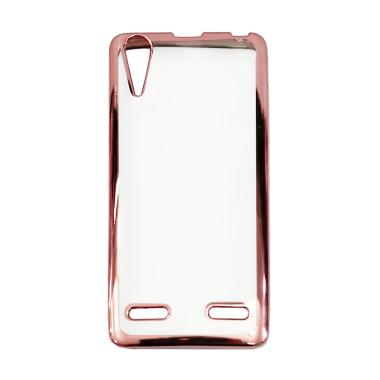 OEM Jelly Transparan Shiny Chrome List Softcase Casing For Lenovo A6000 - Pink