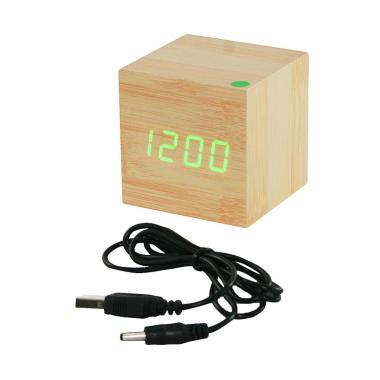 OHOME LED Hijau Digital Clock Alarm ... re Jam Kayu - Coklat Muda
