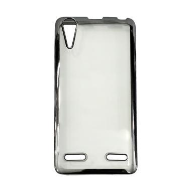 Case Jelly Transparan Shiny Chrome List Softcase Casing for Lenovo A6000 Hitam .