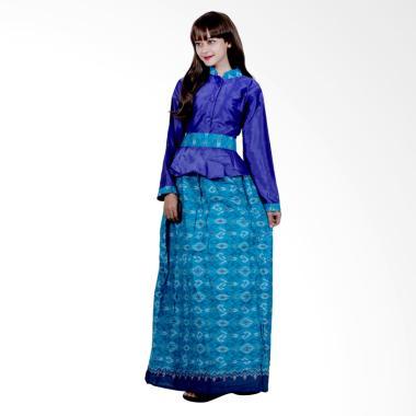 Batik Putri Ayu Solo G4 Gamis Batik Katun dan velvet - Biru
