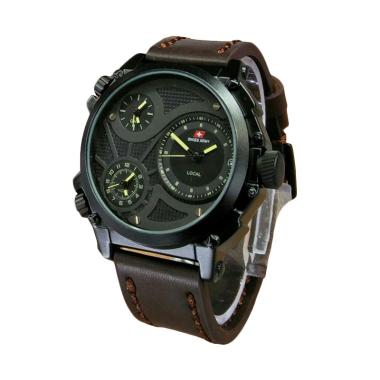 Swiss Army Infantry Jam Tangan Pria Leather Strap [SA 6030] Dark Brown