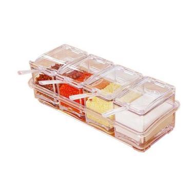 Meilyngiftshop 4 in 1 Seasoning Box Crystal Set Tempat Bumbu