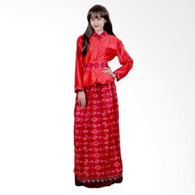 Batik Putri Ayu Solo G4 Gamis Batik Katun dan velvet - Merah