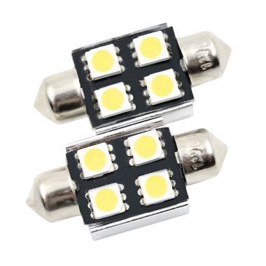 JMS Double Wedge CANBUS 4 SMD 5050 Lampu LED For Mobil Kabin/Plafon/Festoon - White [31 Mm]