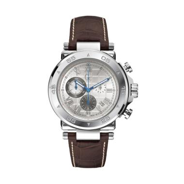 GUESS COLLECTION Leather Jam Tangan Pria Gc X90001G1S - Silver Coklat