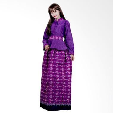 Batik Putri Ayu Solo G4 Gamis Batik Katun Dan Velvet - Ungu
