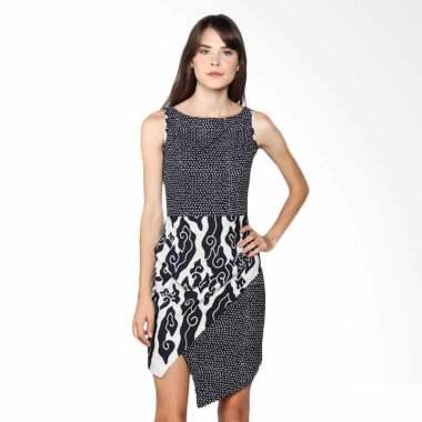 Karya Batik Over Layered Dress Comb ... lack Batik Wanita - Hitam