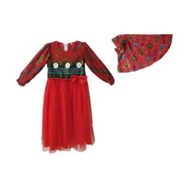Baby Zakumi Motif Kain Songket Baju ... is Anak Perempuan - Merah