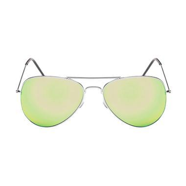 Deoclaus Fashion Aviator Eyewear Harley Sunglasses - Dark Green Silver