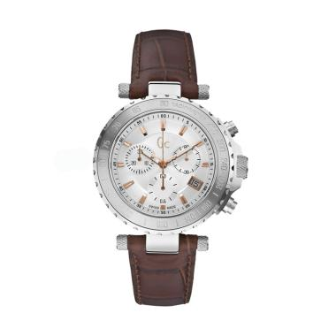 Guess Collection Leather Jam Tangan Pria Gc X58005G1S - Brown Silver