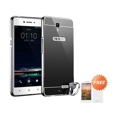 Jagostu Bumper Mirror Casing for Oppo Neo 3 R831K - Black + Free Tempered Glass