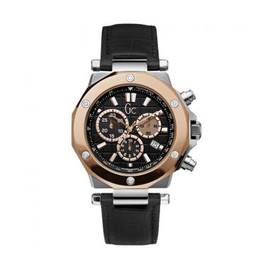 GUESS COLLECTION Leather Jam Tangan Pria Gc X72005G2S - Hitam Rosegold