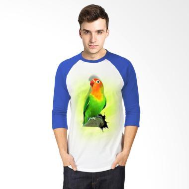 T-SHIRT GLORY 3D Burung Love Bird Fold Raglan T-shirt - Putih Biru