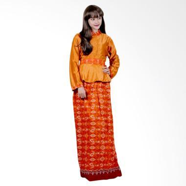 Batik Putri Ayu Solo G4 Gamis Batik Katun dan Velvet - Orange