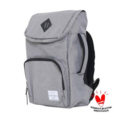 Ezplora Waterproof Premium Unisex Canvas Bas Tas Ransel - Gray White