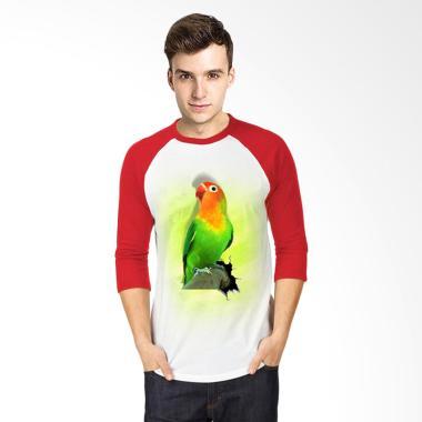 T-SHIRT GLORY 3D Burung Love Bird Fold Raglan T-shirt - Putih Merah
