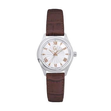 Guess Collection Gc Y03006L1 Leather Jam Tangan Wanita - Brown Silver