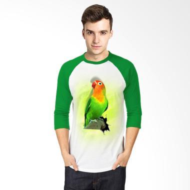 T-SHIRT GLORY 3D Burung Love Bird Fold Raglan T-shirt - Putih Hijau