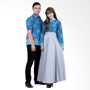 Batik Putri Ayu Solo SRG110 Sarimbit Gamis Modern Batik Couple - Biru